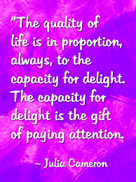 Julia Cameron attention/delight quote