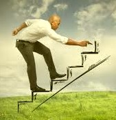 man drawing stairs and climbing on the