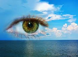 eye image in a blue sky