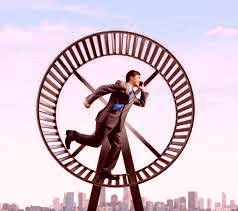 man running on a hamster wheel