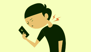 neck pain from peering at a cell phone