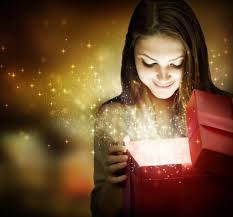 girl opening a gift