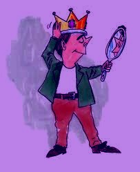 man wearing a crown and preening in a mirror