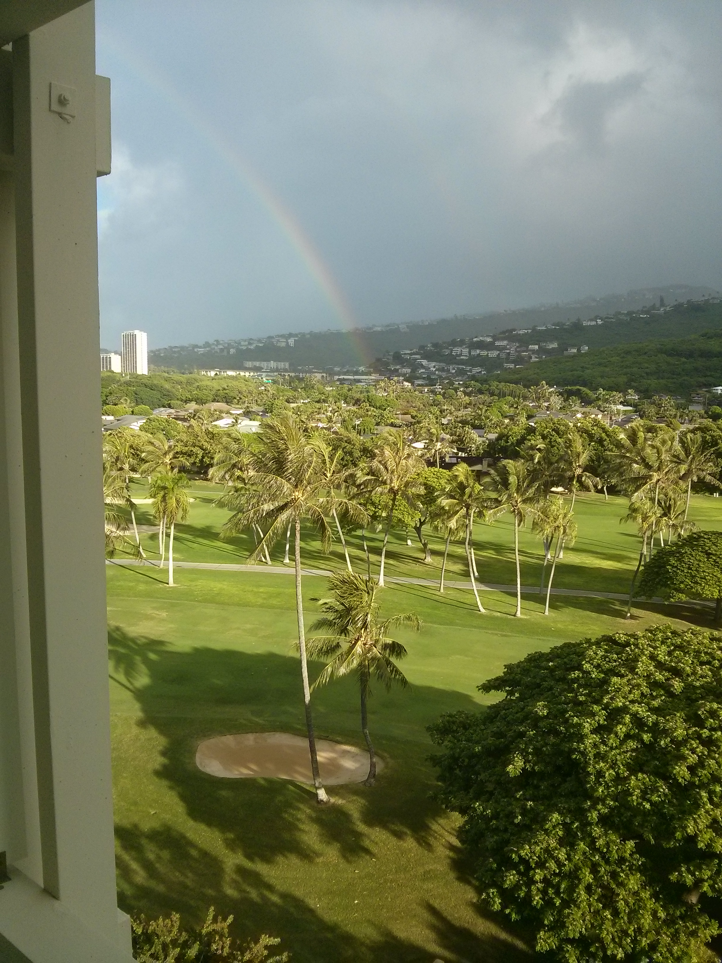 rainbow from Hawaii hotel room