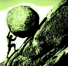 Sisyphus pushing a boulder up a mountain