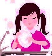 girl washing a dish
